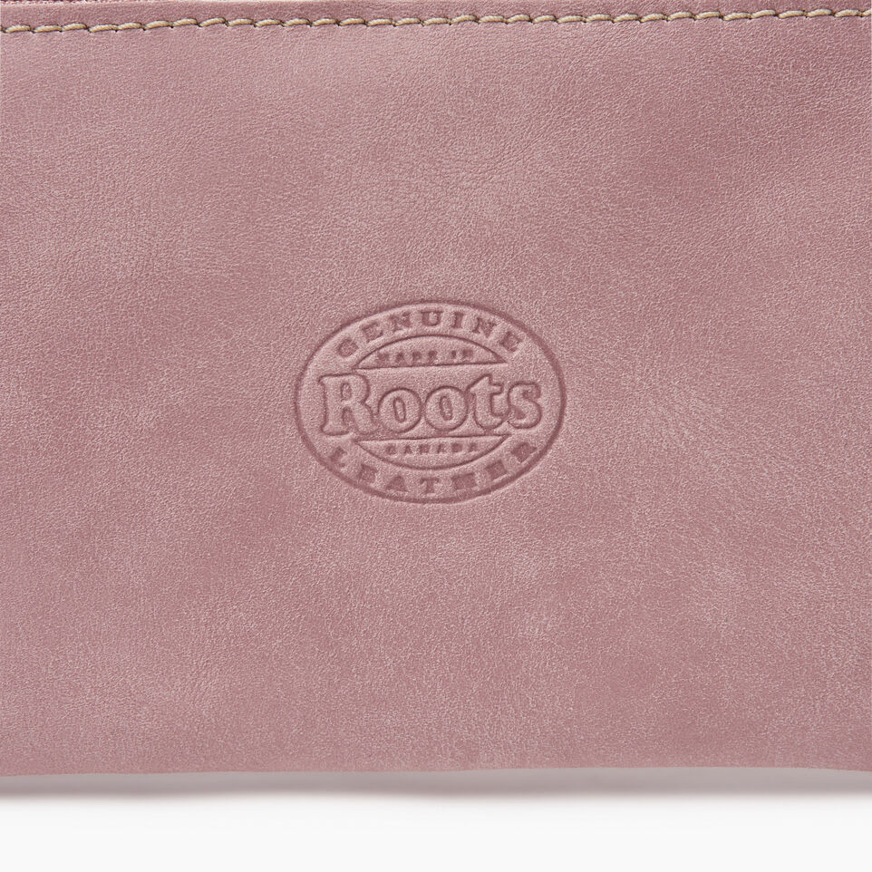 Roots-Leather Leather Accessories-Medium Zip Pouch-Woodrose-C