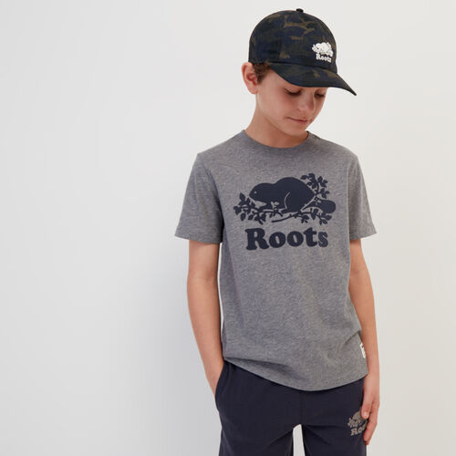 Roots-Kids New Arrivals-Boys Original Cooper Beaver T-shirt-Medium Grey Mix-A