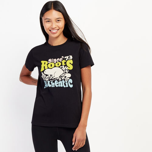 Roots-Women Graphic T-shirts-Womens Groovy Roots T-shirt-Black-A
