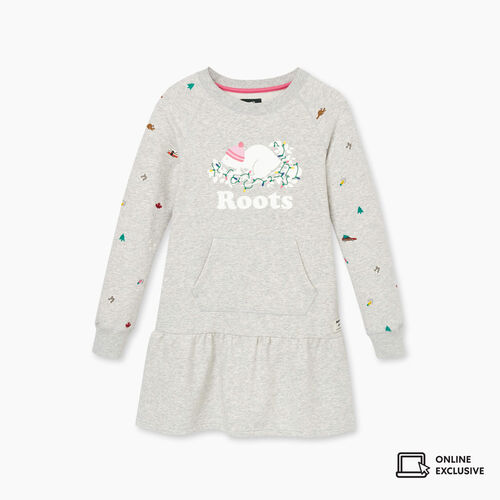 Roots-Kids New Arrivals-Girls Holiday Buddy Dress-Snowy Ice Mix-A