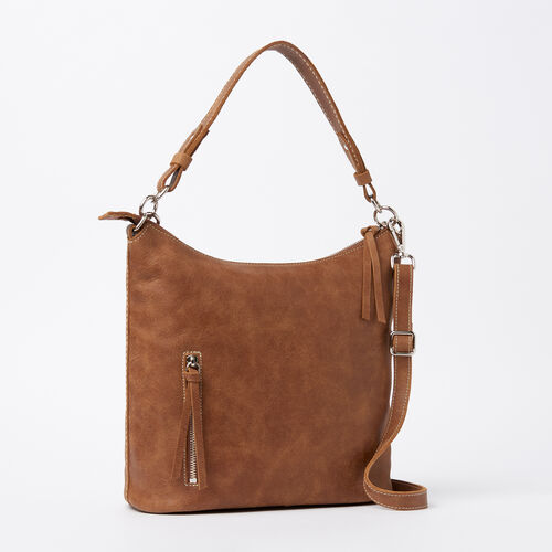 Roots-Leather  Handcrafted By Us Handbags-Ella Bag Tribe-Natural-A