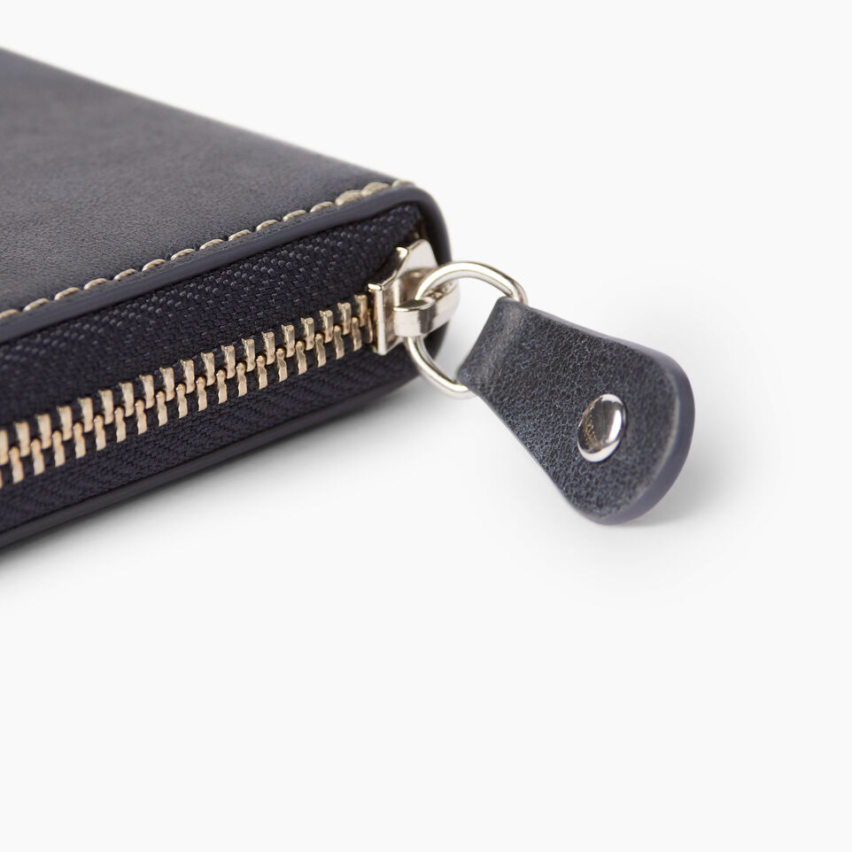 Roots-Clearance Leather-Zip Around Wallet Tribe-Dark Navy-E