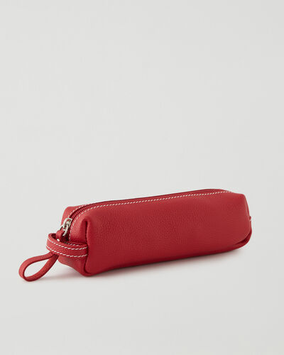 Roots-Leather New Arrivals-Small Utility Pouch Cervino-Lipstick Red-A
