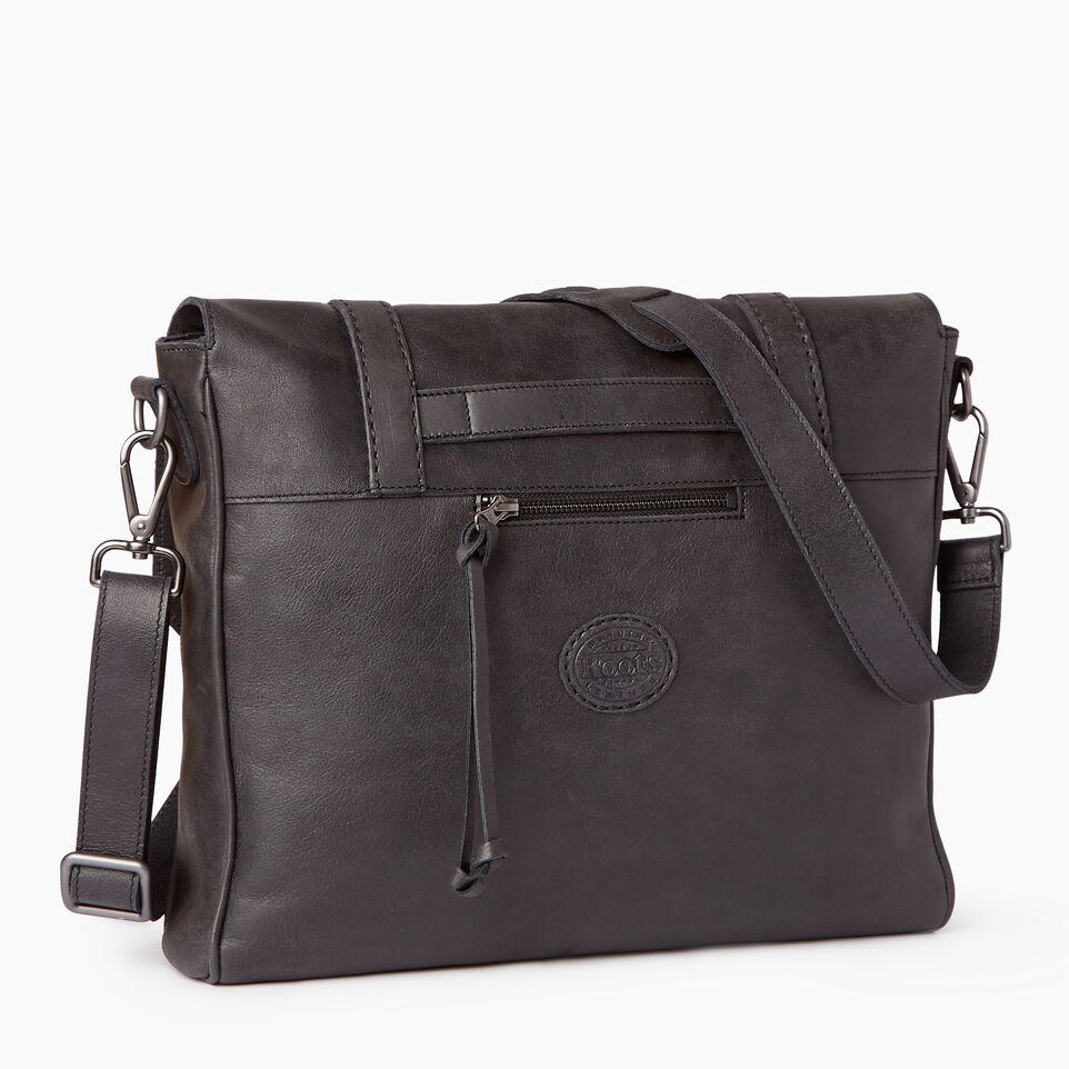 Roots-Leather Tribe Leather-Modern Satchel Tribe-Jet Black-C