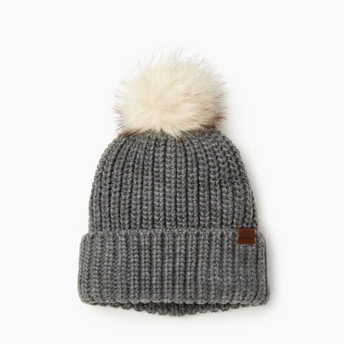 Roots-Women Categories-Olivia Fur Pom Pom Toque-Grey Mix-A