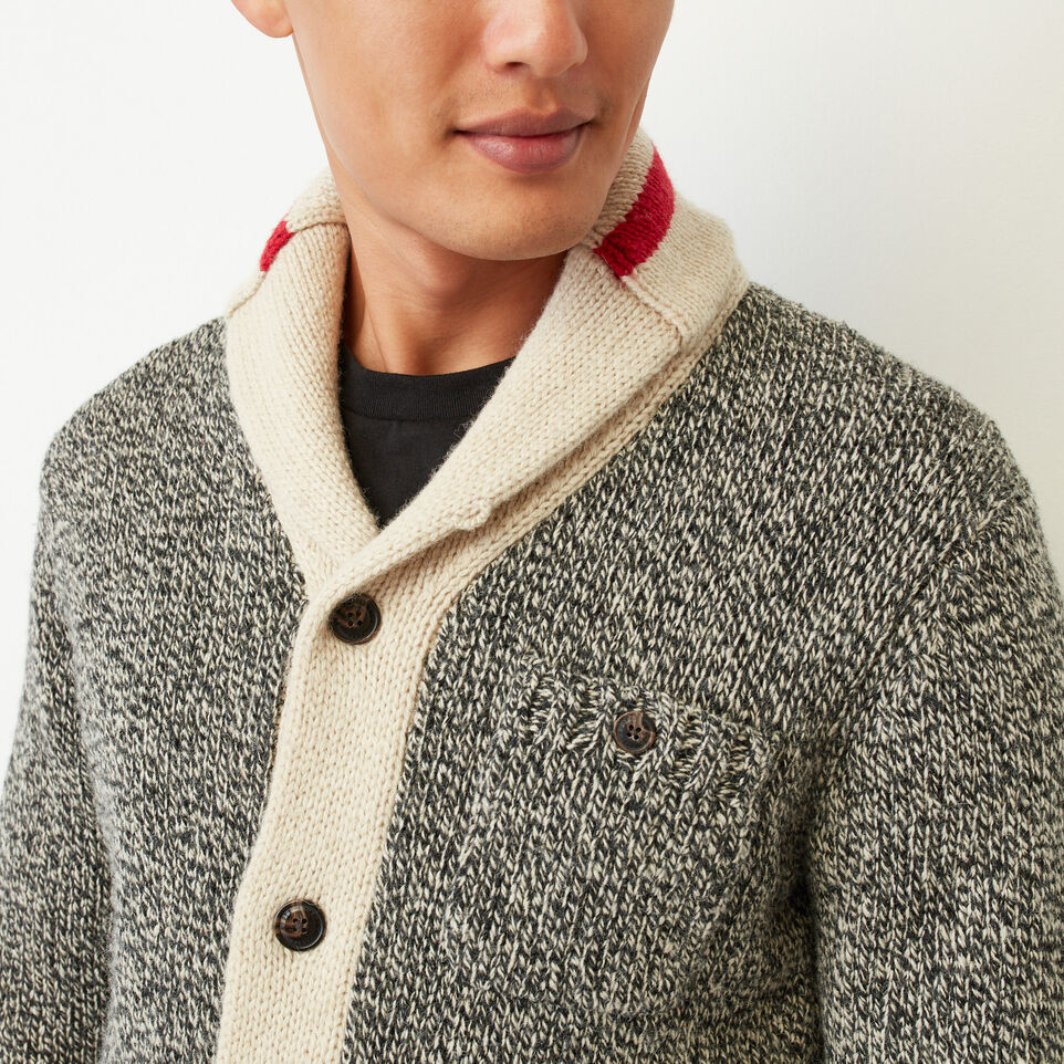 Roots-Clearance Men-Roots Cabin Shawl Cardigan-Grey Oat Mix-E