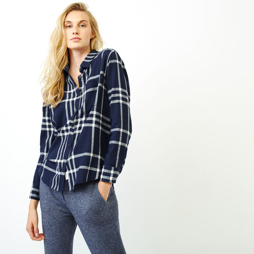 Roots-Women Shirts-Relaxed Flannel Shirt-Navy Blazer-A