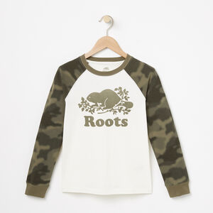Roots-Kids Tops-Boys Blurred Camo Top-Vintage White-A