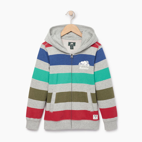 Roots-Clearance Kids-Boys Ombre Stripe Full Zip Hoody-Grey Mix-A