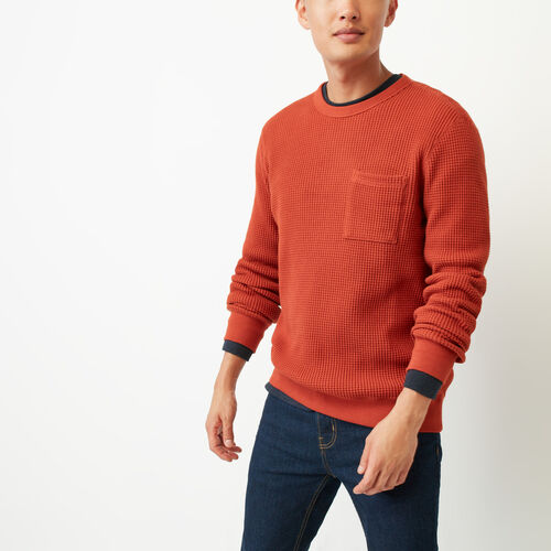 Roots-Men Long Sleeve Tops-Deep Cove Waffle Crew Top-Tent Red-A