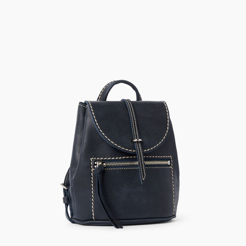 Roots-Leather  Handcrafted By Us Backpacks-Alex Anne Pack Tribe-Dark Navy-A