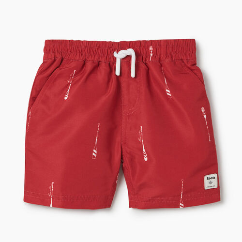 Roots-Kids Bottoms-Toddler Packable Swim Short-Sage Red-A