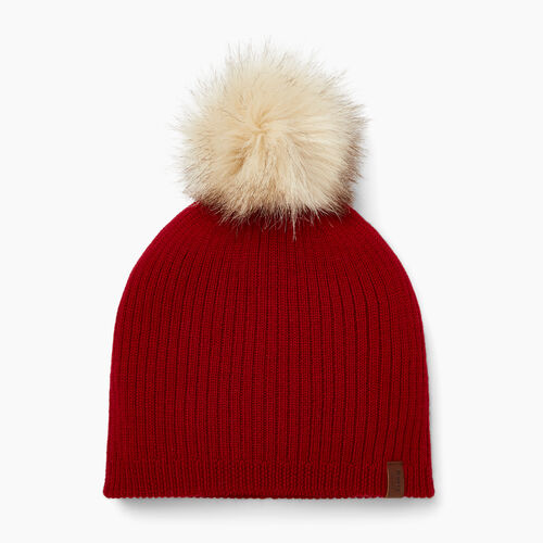 Roots-Women Accessories-Dorval Faux Fur Pom Pom Toque-Cabin Red-A