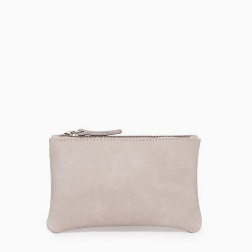 Roots-Leather  Handcrafted By Us Our Favourite New Arrivals-Medium Zip Pouch-Sterling Grey-A