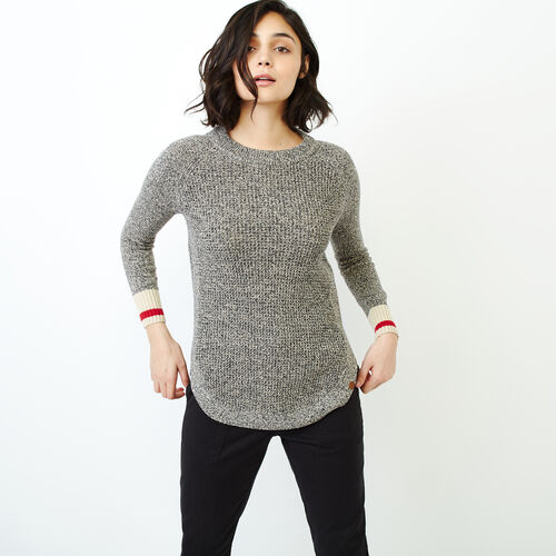 Roots-Women Tops-Roots Cotton Cabin Waffle Crew-Grey Oat Mix-A
