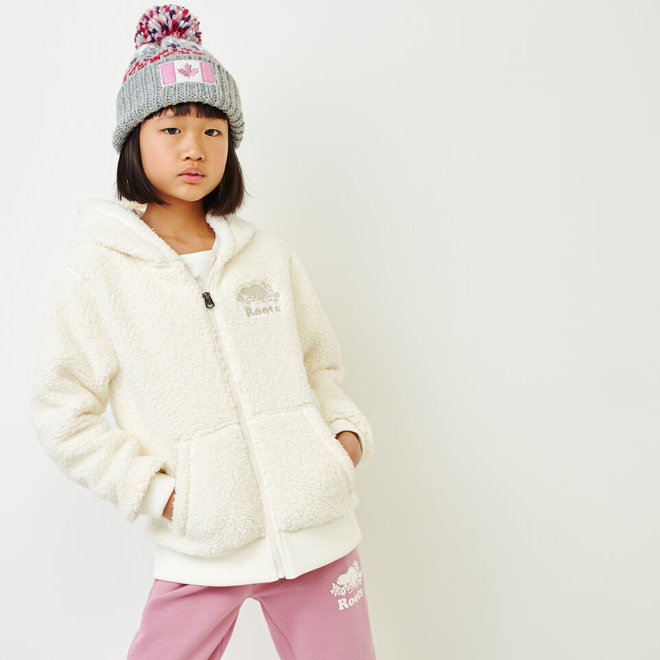 Roots-undefined-Girls Sherpa Fleece Full Zip Hoody-undefined-A
