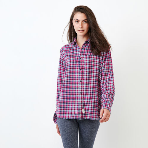 Roots-Women Categories-Relaxed Flannel Shirt-Phlox Pink-A