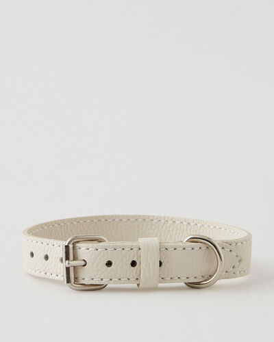 Roots-Leather Bestsellers-Medium Leather Dog Collar Parisian-Ivoire-A