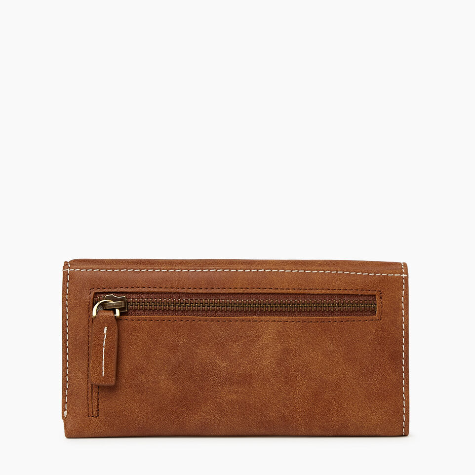 Roots-Women Leather Accessories-Medium Trifold Clutch Tribe-Natural-B