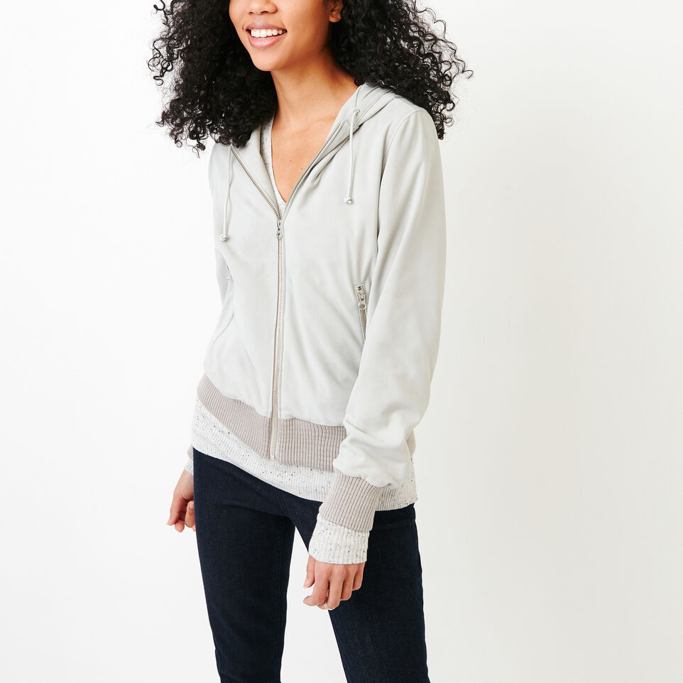 Roots-Women Leather Jackets-Alex Hoody Suede-Light Grey-A
