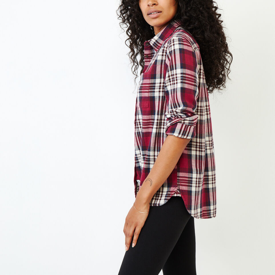 Roots-Women Categories-All Seasons Relaxed Shirt-Tibetan Red-C