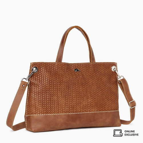 Roots-Leather Crossbody-Edie Tote Woven-Natural-A