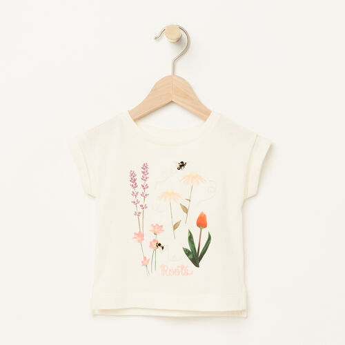 Roots-Kids Baby-Baby Floral Boxy T-shirt-Pristine White-A