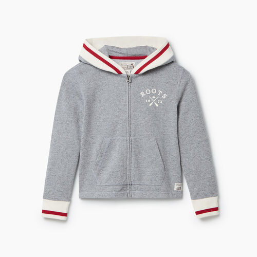 Roots-Kids New Arrivals-Girls Cabin Full Zip Hoody-Light Salt & Pepper-A