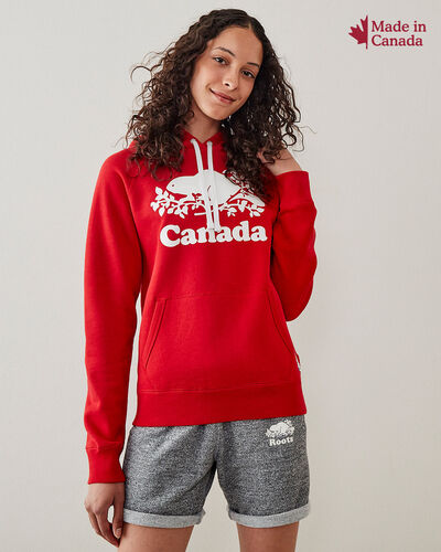 Roots-Sweats Women-Womens Cooper Canada Hoodie-Sage Red-A