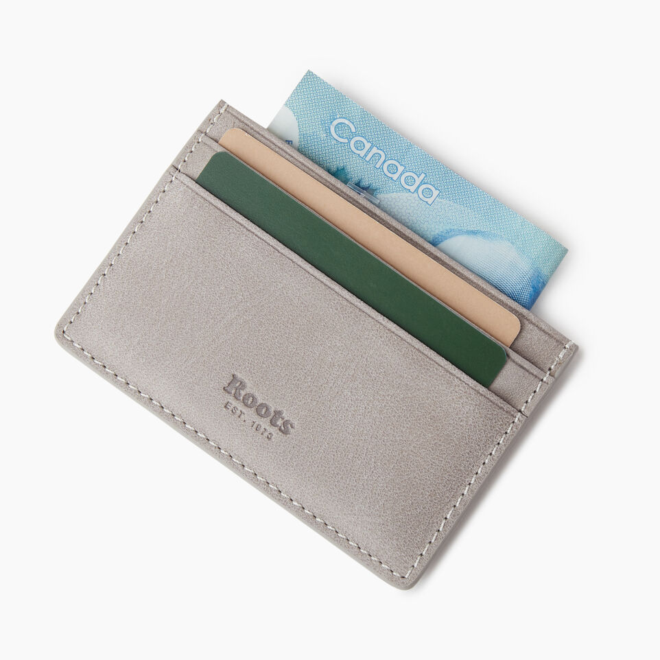 Roots-Leather  Handcrafted By Us Our Favourite New Arrivals-Card Holder Tribe-Sterling Grey-C