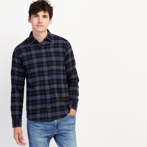 Roots-New For October Plaids-Manning Flannel Shirt-Black-A