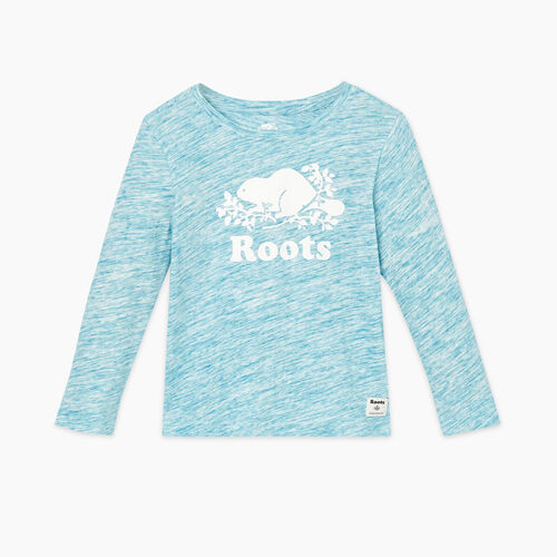 Roots-Kids Tops-Toddler Original Cooper Beaver T-shirt-Moroccan Blue Mix-A