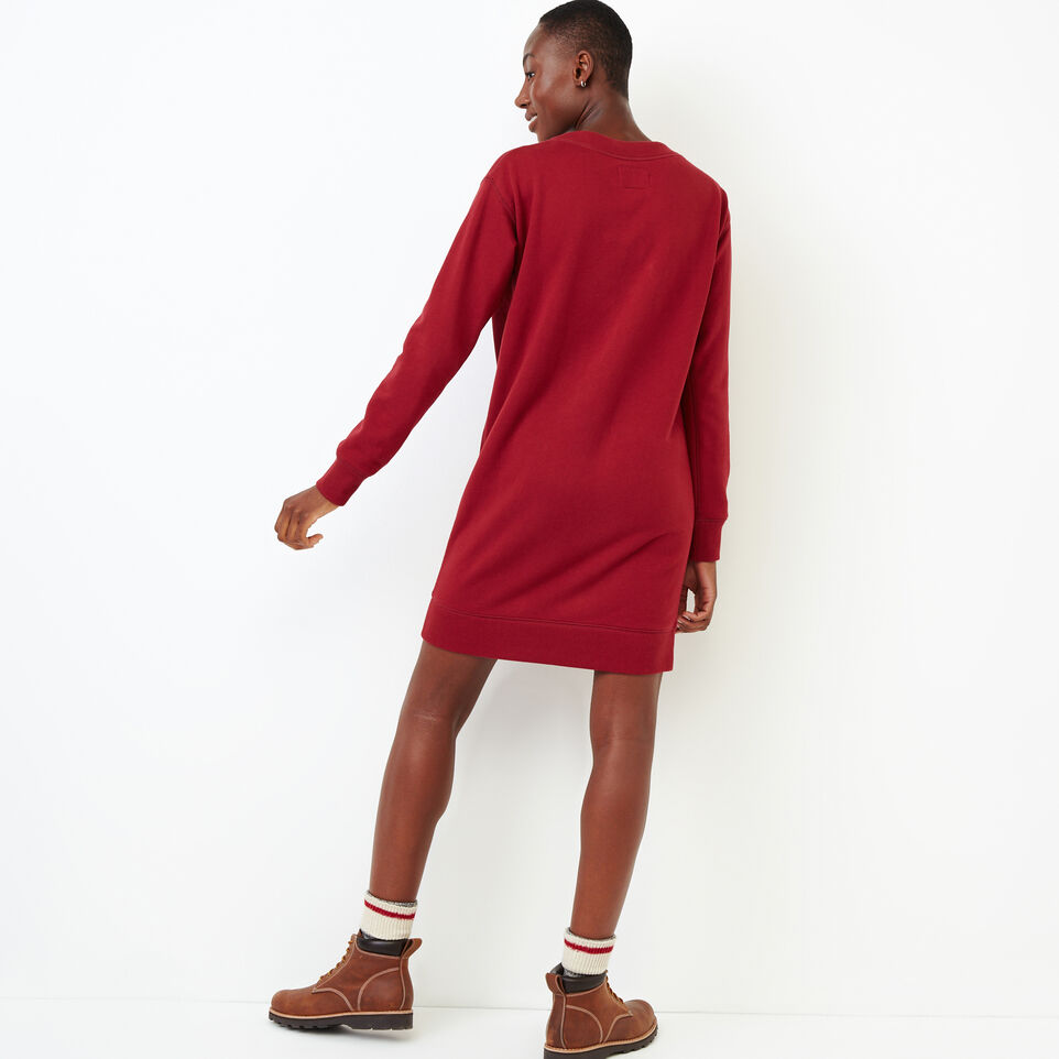 Roots-Women Our Favourite New Arrivals-Chevron Dress-Tibetan Red-D