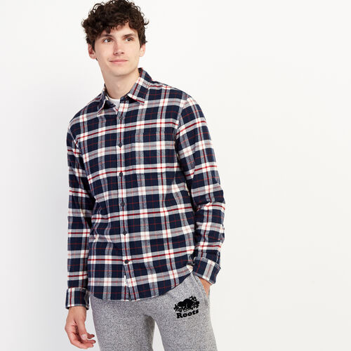 Roots-New For October Plaids-Manning Flannel Shirt-Navy Blazer-A
