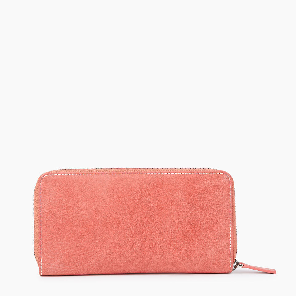 Roots-Leather New Arrivals-Zip Around Clutch Tribe-Coral-B