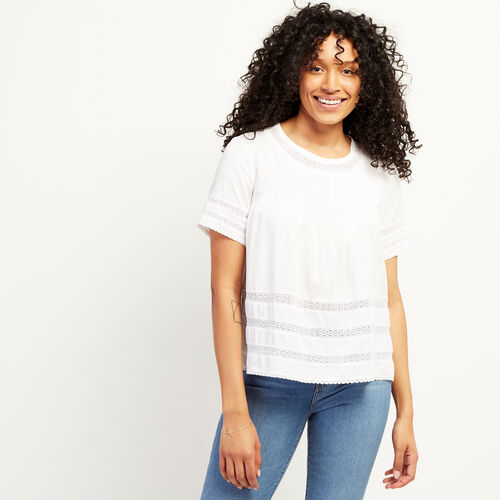 Roots-Women Clothing-Kenosee Lace Top-White-A