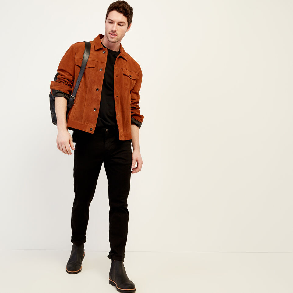 Roots-Leather Leather Jackets-Mens Trucker Jacket Suede-Tan-B