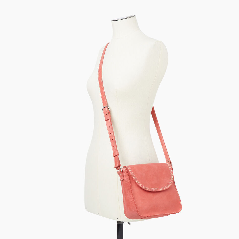 Roots-Leather New Arrivals-Canmore Crossbody Tribe-Coral-B