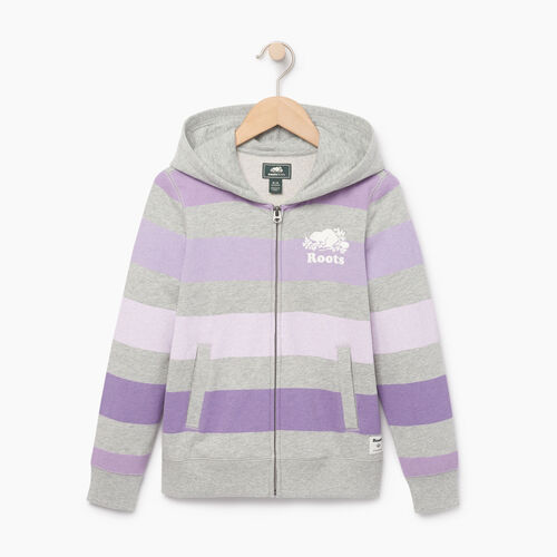 Roots-Clearance Kids-Girls Ombre Stripe Full Zip Hoody-Grey Mix-A