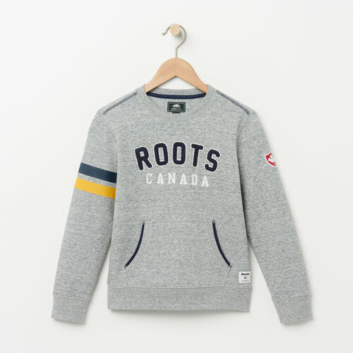 Roots-Kids Boys-Boys Walden Varsity Crew-Grey Mix-A