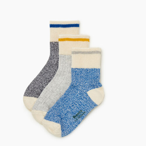 Roots-Kids Accessories-Kid Cotton Cabin Ankle Sock 3 Pack-Classic Blue-A