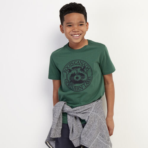Roots-Kids New Arrivals-Boys Cooper Animal T-shirt-Hunter Green-A