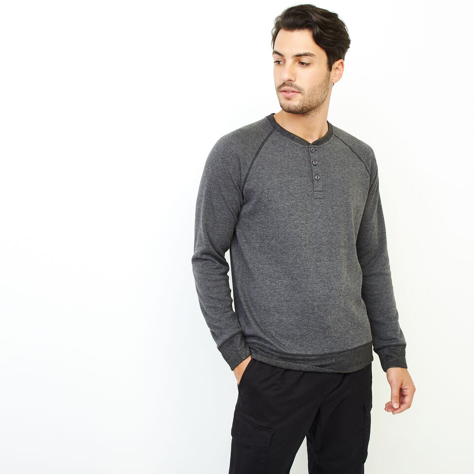 Roots-Men New Arrivals-Cozy Thermal Henley-Charcoal Mix-A