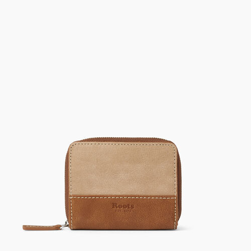 Roots-Leather  Handcrafted By Us Wallets-Small Zip Wallet-Sand/natural-A
