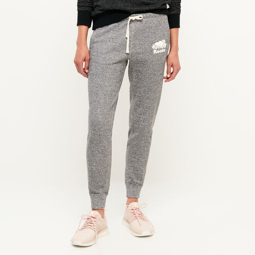 Roots-Women Bottoms-Original Slim Cuff Sweatpant-Salt & Pepper-A