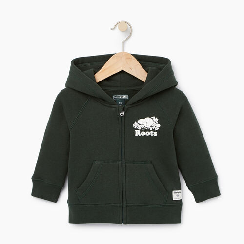 Roots-Clearance Kids-Baby Original Full Zip Hoody-Park Green-A