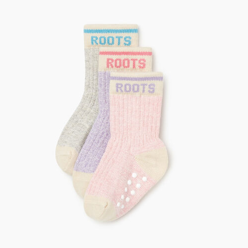 Roots-Kids Accessories-Toddler Cabin Sock 3 Pack-Pale Mauve Mix-A