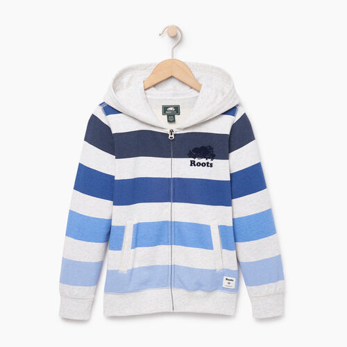Roots-Kids Boys-Boys Ombre Stripe Full Zip Hoody-White Mix-A