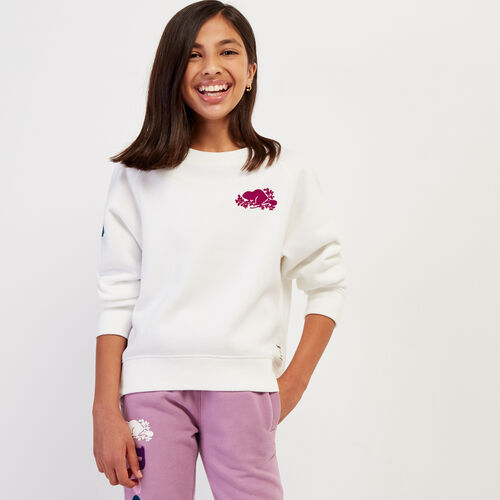 Roots-Kids Tops-Girls Remix Crew Sweatshirt-Ivory-A