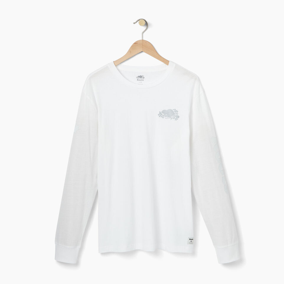 Roots-Men Our Favourite New Arrivals-Mens Cooper Remix Long Sleeve T-shirt-White-A